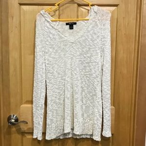 Style & Co hooded pullover v-neck knit top M